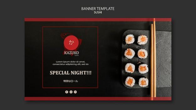 Modèle de bannière publicitaire de restaurant de sushi