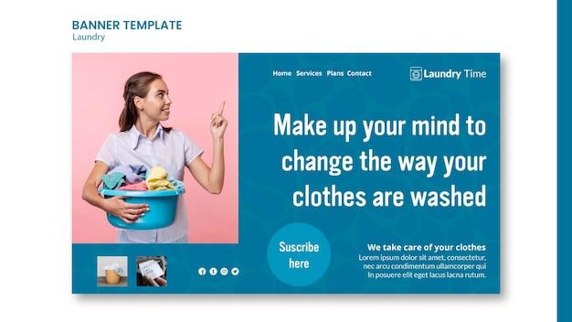 Modèle de bannière publicitaire de service de blanchisserie