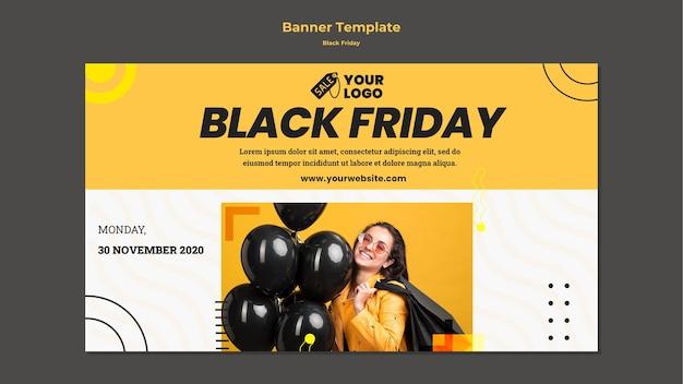 Modèle de bannière publicitaire vendredi noir