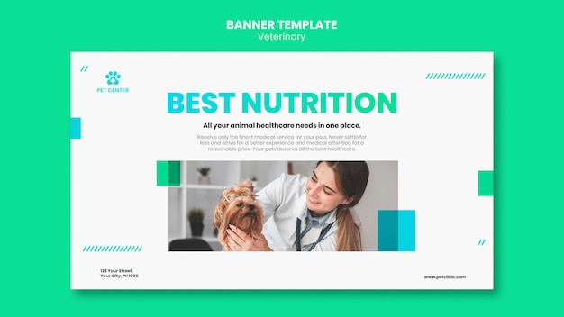 Modèle de bannière publicitaire vétérinaire