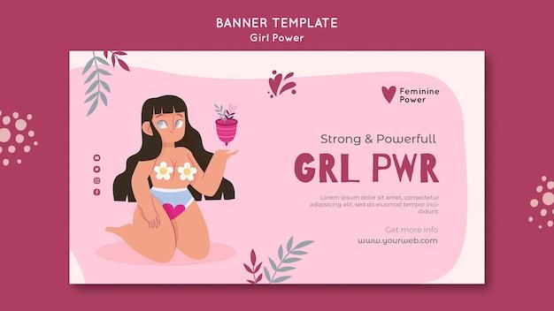 Modèle de bannière de puissance de fille illustré