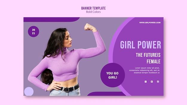 Modèle de bannière de puissance de fille