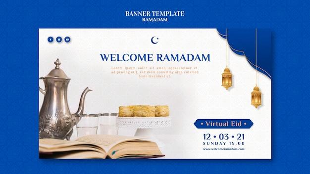 Modèle de bannière de ramadan créatif