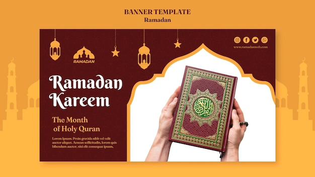 Modèle de bannière de ramadan kareem