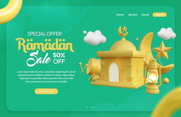 Modèle de bannière ramadan avec rendu 3d de scène islamique