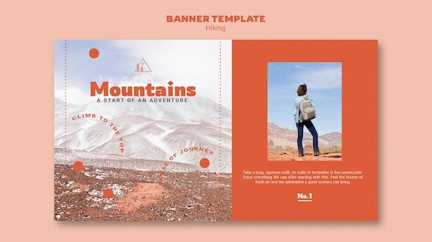 Modèle de bannière de randonnée avec photo