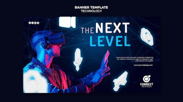 Modèle de bannière de réalité virtuelle futuriste