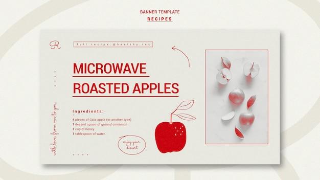 Modèle de bannière de recettes dessinées à la main