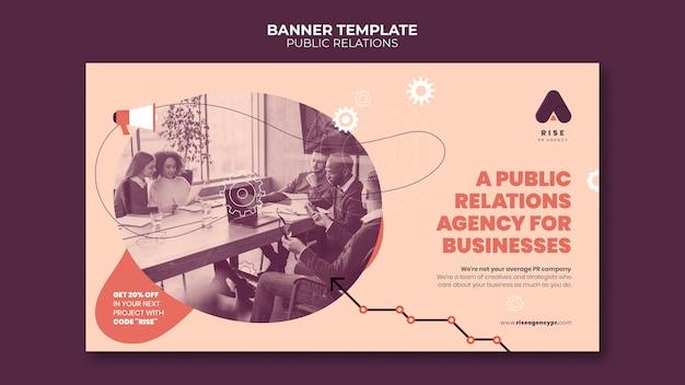 Modèle de bannière de relations publiques avec photo