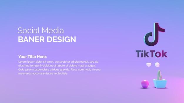 Modèle de bannière de rendu 3d avec l'icône tik tok