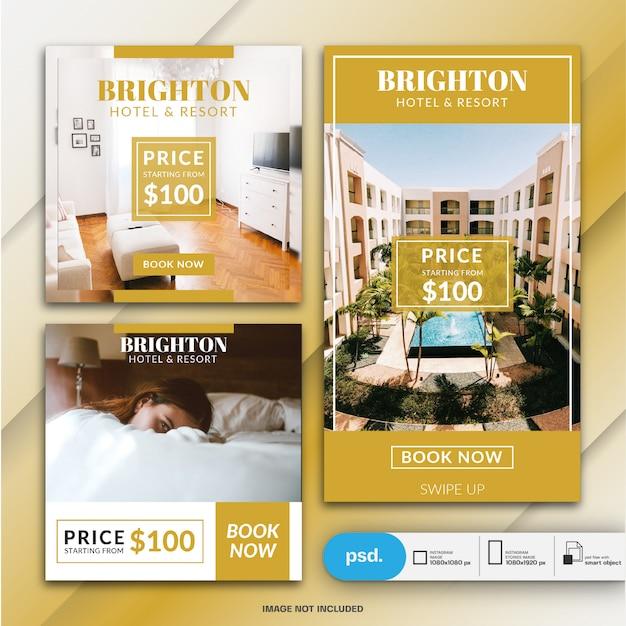 Modèle de bannière de réservation d'hôtel