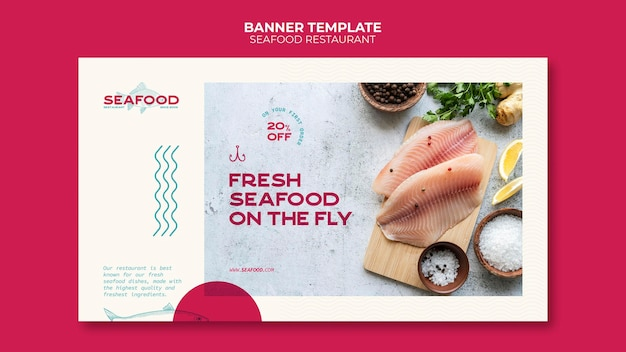 Modèle de bannière de restaurant de fruits de mer