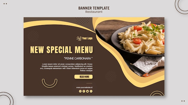 Modèle de bannière de restaurant de pâtes