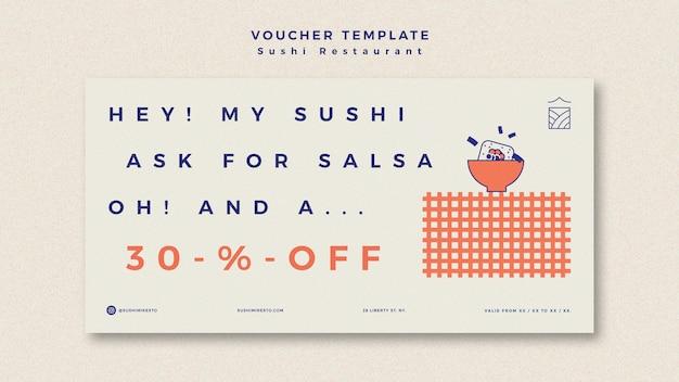 Modèle de bannière avec restaurant de sushi