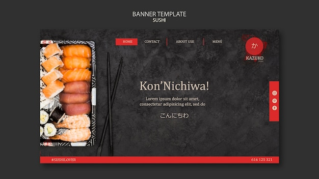 Modèle de bannière de restaurant de sushi