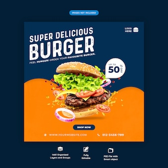 Modèle de bannière de restauration rapide hamburger médias sociaux premium psd