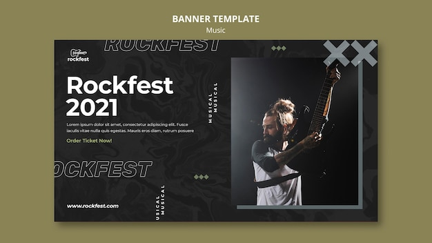 Modèle de bannière rockfest 2021
