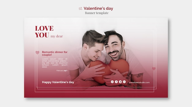 Modèle de bannière de saint valentin avec couple masculin
