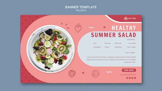 Modèle de bannière de salade d'été en bonne santé