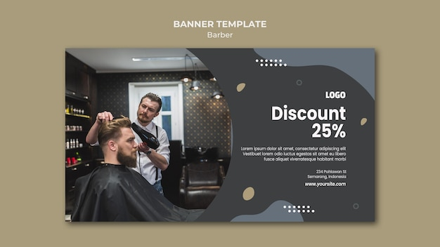 Modèle de bannière de salon de coiffure
