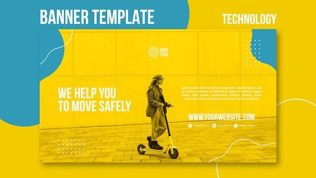 Modèle de bannière de scooter avec photo