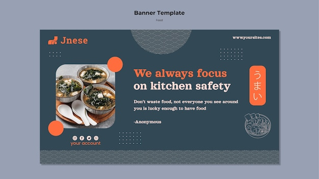 Modèle de bannière de sécurité de cuisine