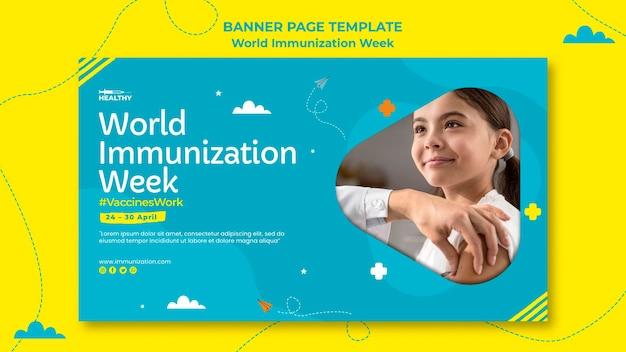 Modèle de bannière de la semaine mondiale de la vaccination
