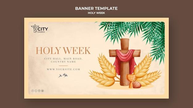 Modèle de bannière de la semaine sainte