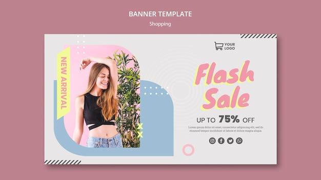 Modèle de bannière shopping vente