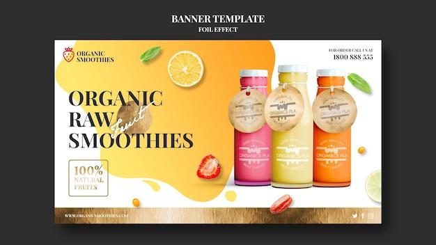 Modèle de bannière de smoothies bio
