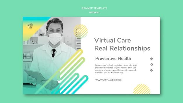 Modèle de bannière de soins médicaux virtuels