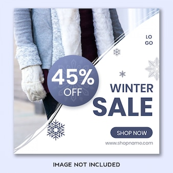 Modèle de bannière de soldes d'hiver pour les médias sociaux