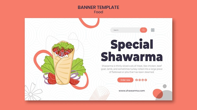 Modèle de bannière spéciale shawarma