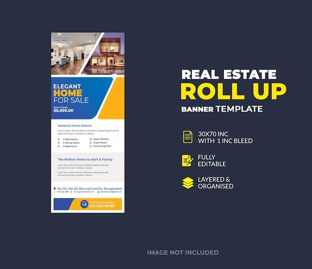 Modèle de bannière de stand immobilier roll up