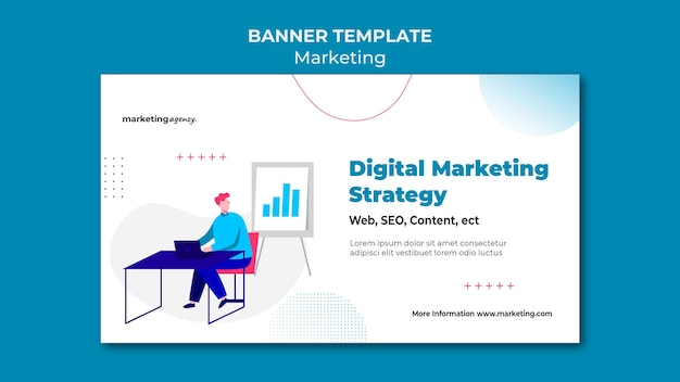 Modèle de bannière de stratégie de marketing numérique