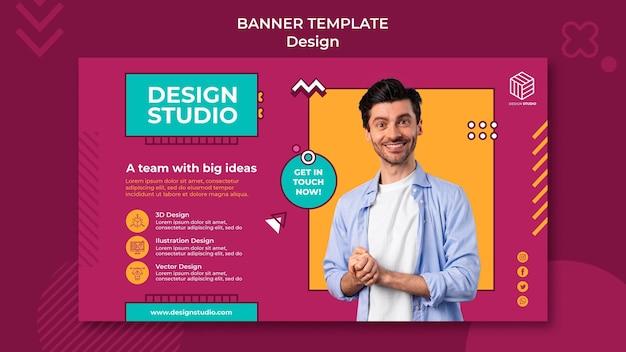 Modèle de bannière de studio de conception