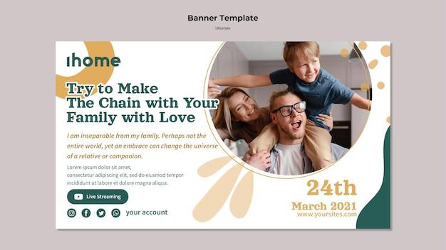 Modèle de bannière de style de vie familial