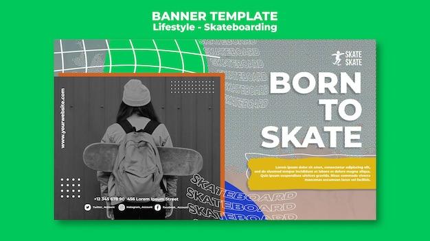 Modèle de bannière de style de vie de skateboard
