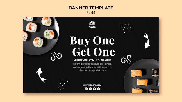 Modèle de bannière de sushi avec photo