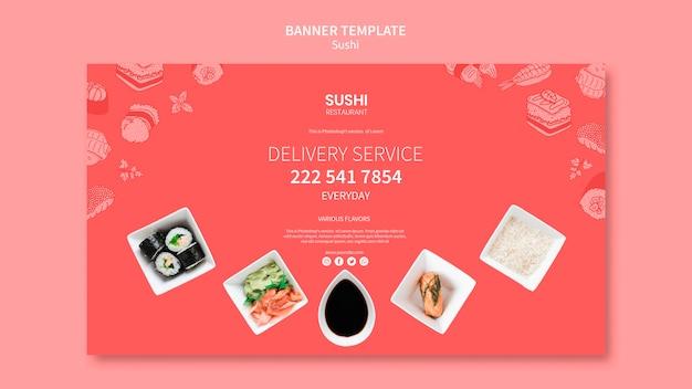 Modèle de bannière de sushi