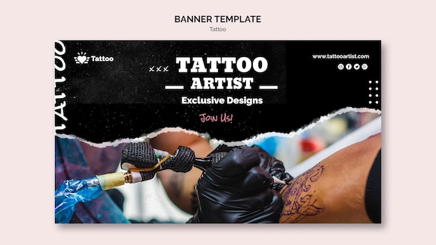Modèle de bannière de tatoueur