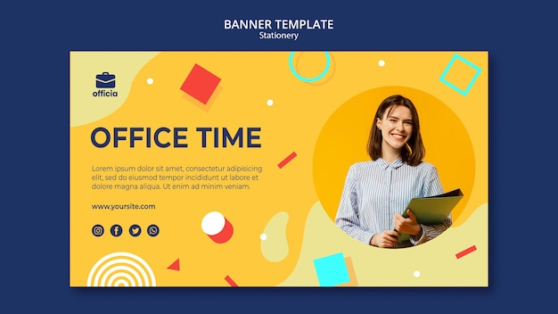 Modèle de bannière de temps de bureau