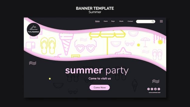 Modèle de bannière de temps de fête d'été
