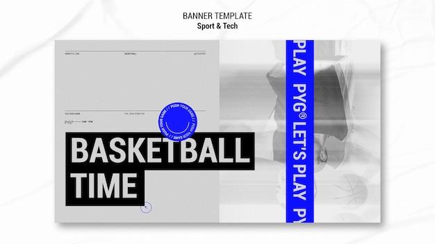 Modèle de bannière de temps de jeu de basket-ball