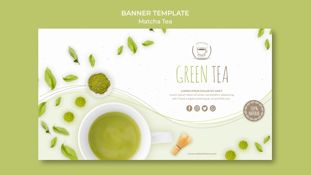 Modèle de bannière de thé vert minimaliste
