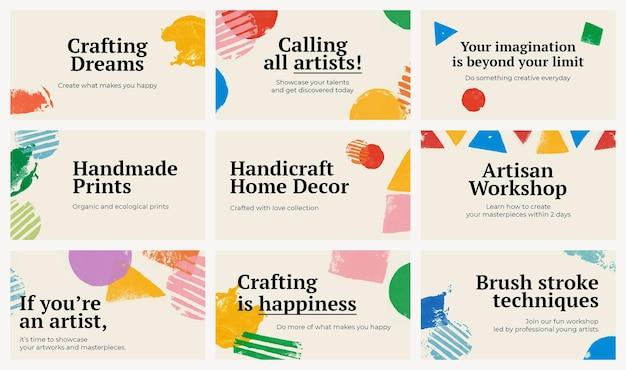 Modèle de bannière sur le thème de l'artisanat psd avec jeu de fond d'impression de bloc