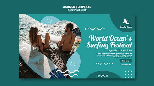 Modèle de bannière avec le thème de la journée mondiale des océans