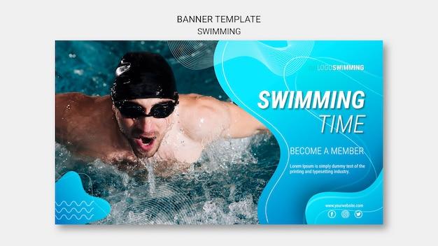 Modèle de bannière avec thème de natation
