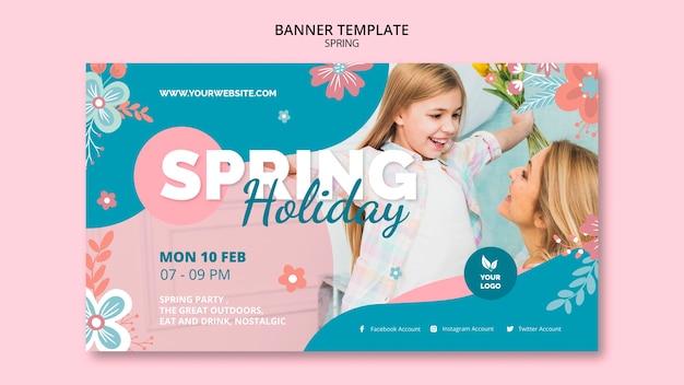 Modèle de bannière avec thème printemps