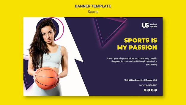 Modèle de bannière de tournoi de basket-ball